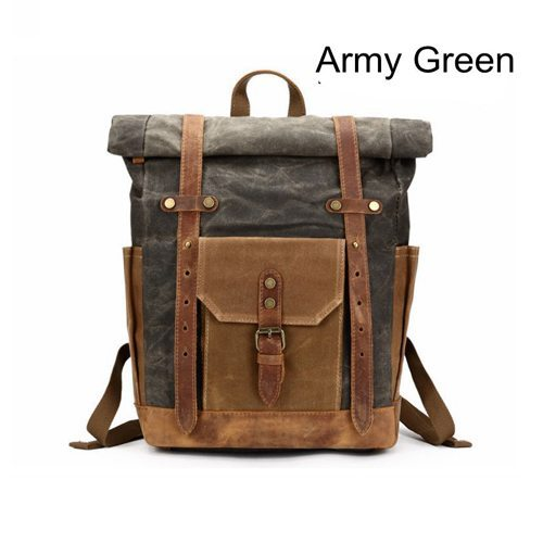 greay and brown Kayden by Camera Chick -Teal backpack